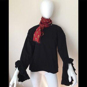 NWT Zara black cotton LS top w/ ruffle sleeve
